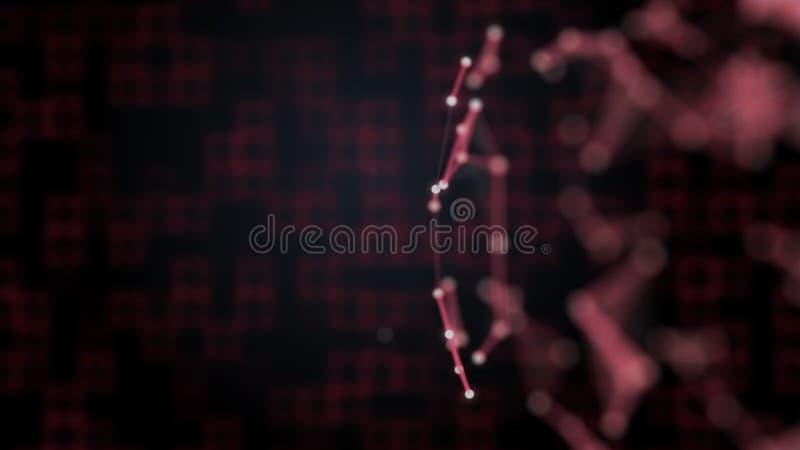 Koncepcja digitalizacji Abstrakcyjne czerwone kwadraty tło i sieć pleksusowa na przedniej stronie niewyraźne ilustracji