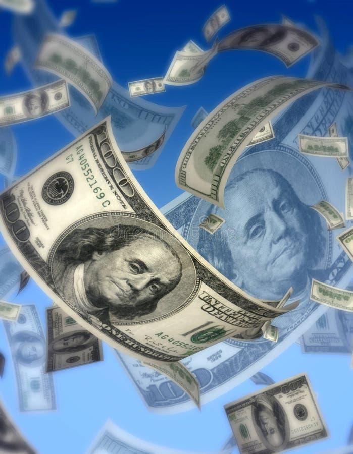 koncepcja dolarów latają ilustracja wektor