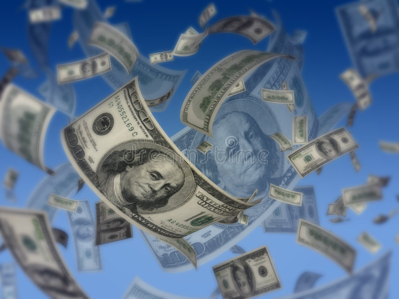 koncepcja dolarów latają royalty ilustracja