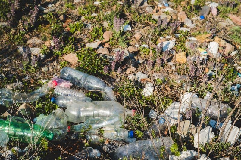 koncepcja ekologicznego Ekologia problemy planety ziemia Banialuki w miejscach odpoczynek morzem Klingeryt butelki w?r?d fotografia stock