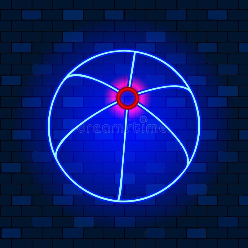 Koncepcja ikony neonu Vip Ikona piłki plażowej Neon na tle ciemnej cegły Ikona prosta dla witryn internetowych, projekt sieci Web ilustracji
