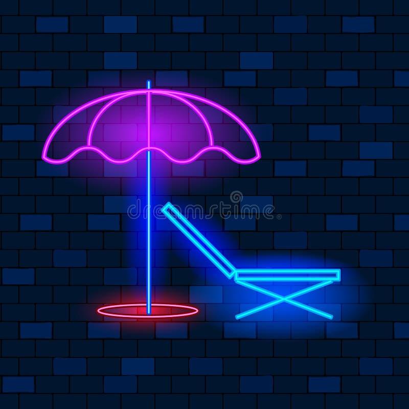 Koncepcja ikony neonu Vip Krzesło i parasol na tle ciemnej cegły Styl płaski Ilustracja wektorowa ilustracji