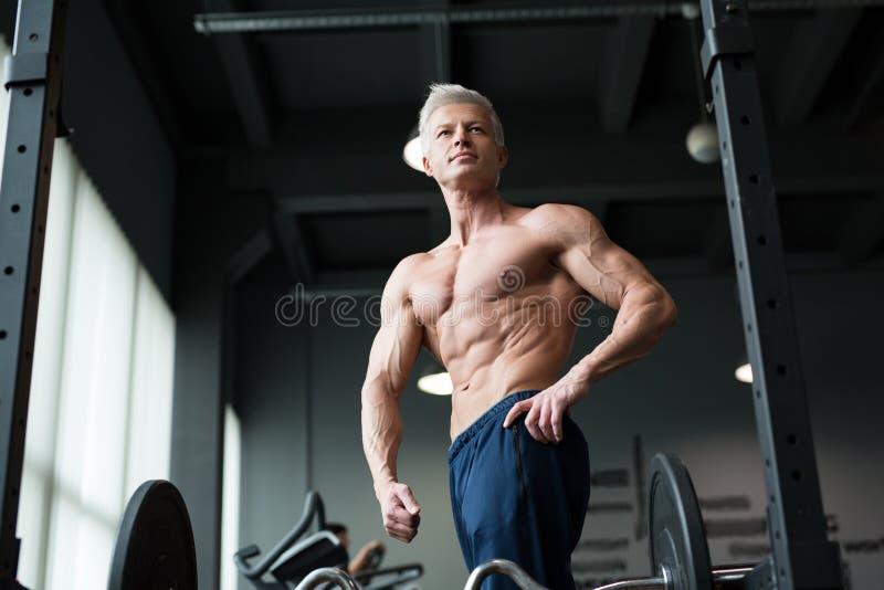 koncepcja kulowego fitness pilates złagodzenie fizycznej Mięśniowa i seksowna półpostać młody człowiek ma perfect abs, bicep i kl fotografia royalty free