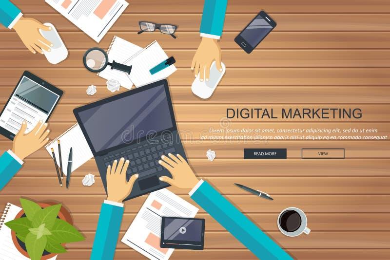 Koncepcja marketingu cyfrowego Biurko z wyposażeniem Wektor płaski ilustracja wektor