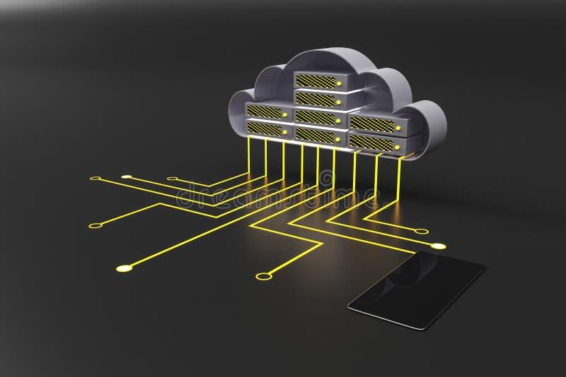 Koncepcja mobilnej chmury i danych z obwodem, przewodami i telefonami komórkowymi ilustracji