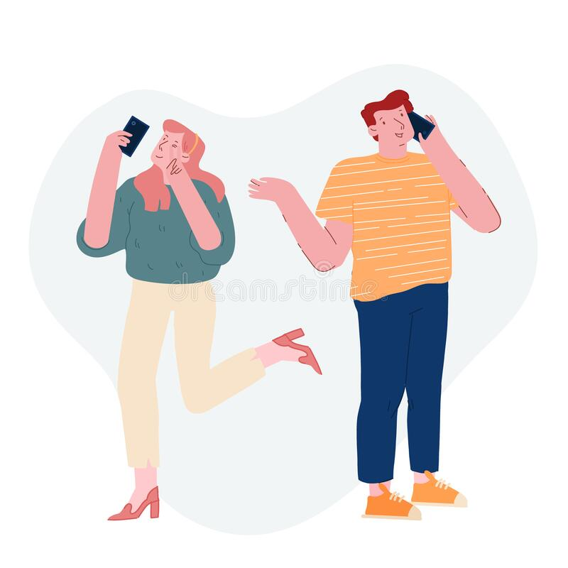 Koncepcja nastolatków i gadżetów Happy Girl Show Victory Gesture on Smartphone Camera Make Selfie for Internet ilustracja wektor