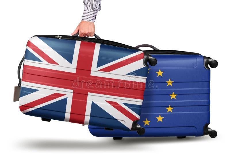 Koncepcja nowożytnego zwiÄ…zku walizkowego Jack opuszczajÄ…cy UE zdjęcia royalty free