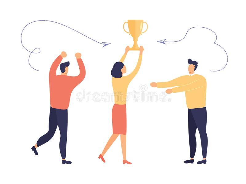 Koncepcja pracy zespołowej Zespół współpracowników cieszy się z wygranej nagrody Ludzie podnieśli ręce symbolizujące radość z ilustracji