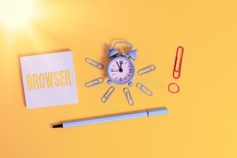 Koncepcja ręcznego pisania pokazująca przeglądarkę Wizerunek biznesowy pokaz programu komputerowego Wyświetlanie interfejsu użytk obrazy stock