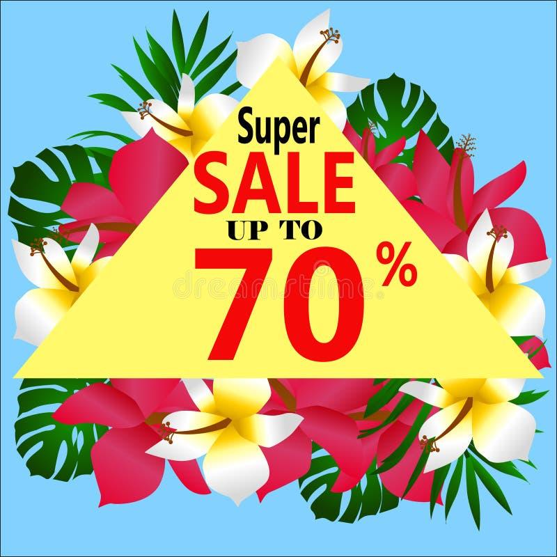 koncepcja ręka szklana powiększyć sprzedaży tło kwitnie tropikalnego Szablonu wektor ilustracji