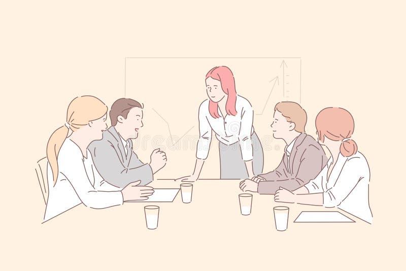 Koncepcja spotkania w sali konferencyjnej ilustracja wektor
