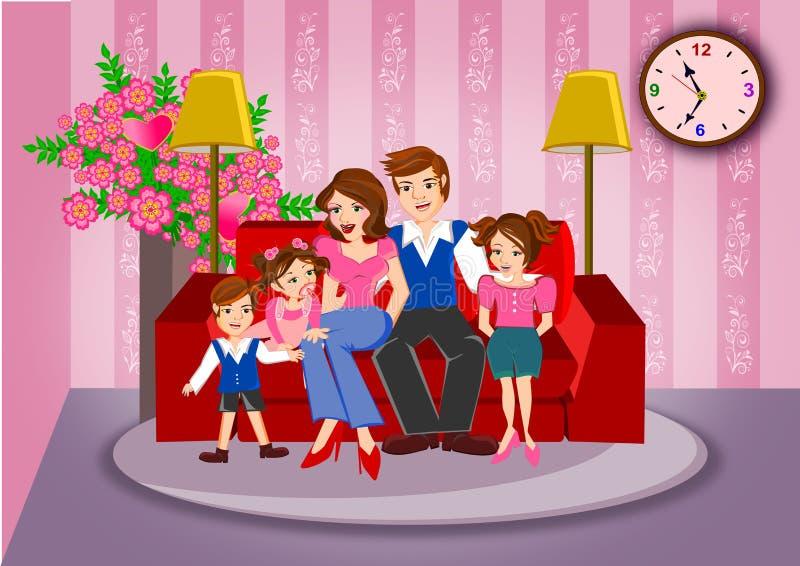 koncepcja szczęśliwa rodzina ilustracji