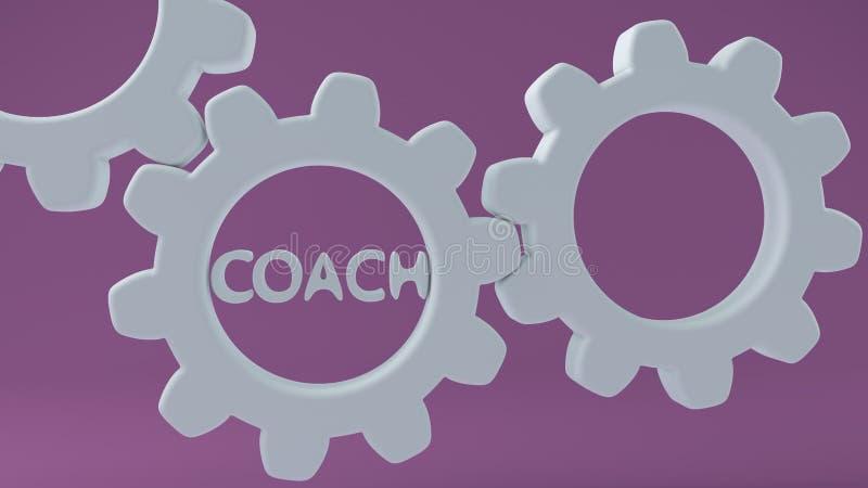 Koncepcja trenera dotycząca narzędzi białych ilustracji