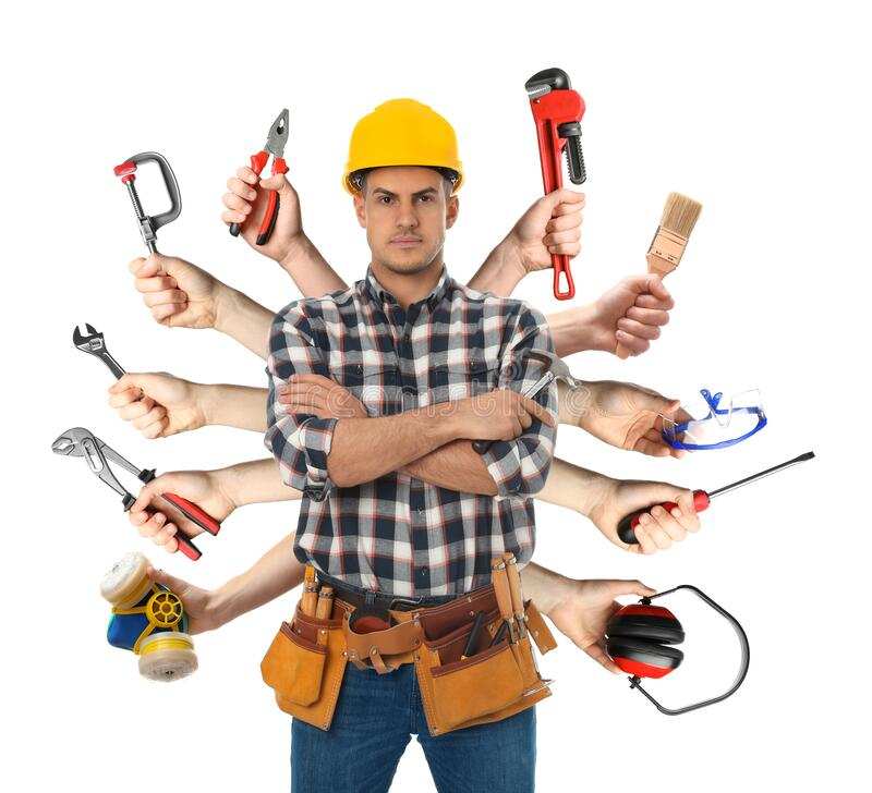 Koncepcja wielozadaniowości Handyman z narzędziami na białym tle zdjęcie stock