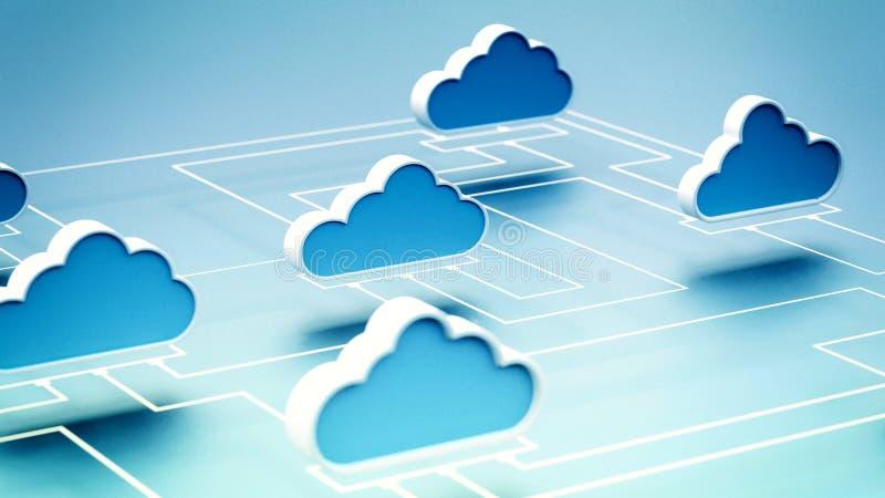 Koncept för Cloud Computing Network stock illustrationer