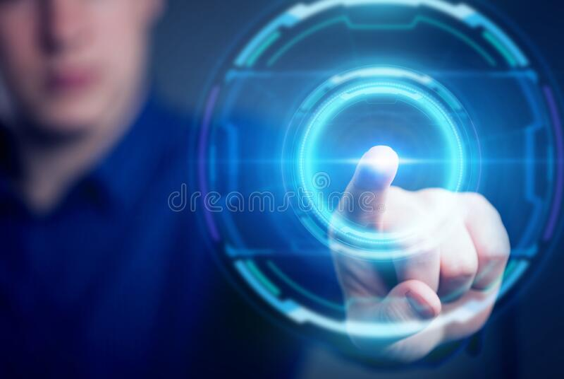 Koncept för företag, teknik, Internet och nätverk - affärsknapp med kontakt på virtuella skärmar arkivfoton