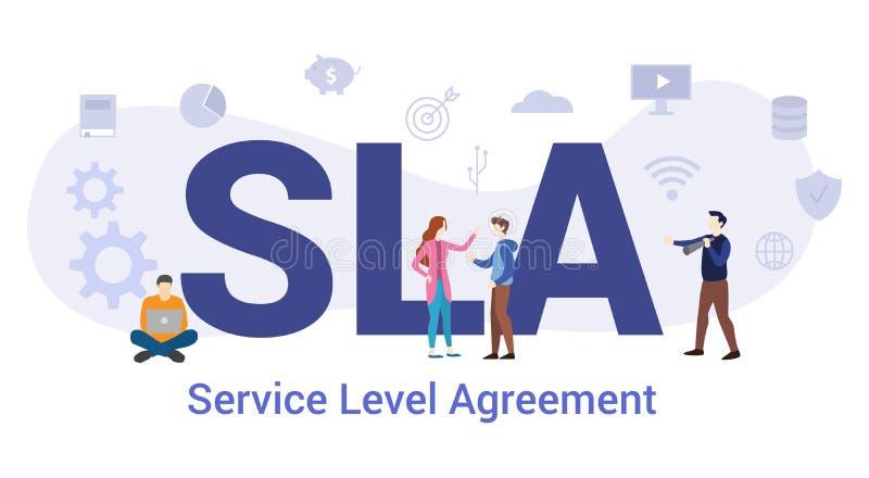 Koncept för servicenivåavtal med stora ord eller text och team med modernt platt stil - vektor royaltyfri illustrationer
