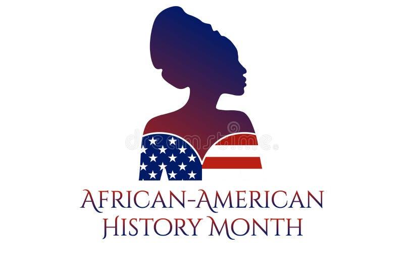 Konceptet för den afrikanska-amerikanska eller svarta historiens månad med silhuett av den afrikanska-amerikanska kvinnan Patriot stock illustrationer