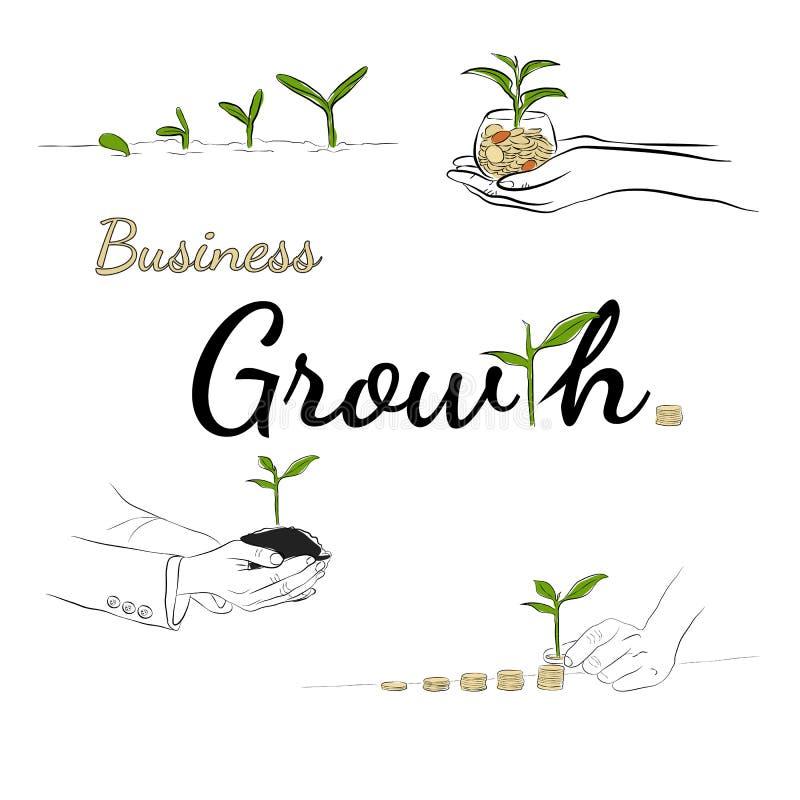 Konceptet för linjedragning av tillväxt, tillväxt, affärsverksamhet, pengar royaltyfri bild