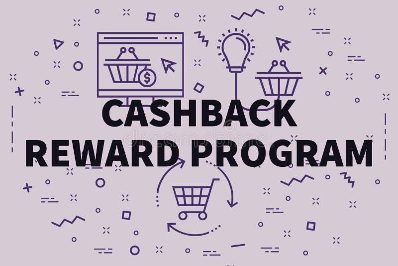 Konceptualna biznesowa ilustracja z słowa cashback nagrodą ilustracja wektor