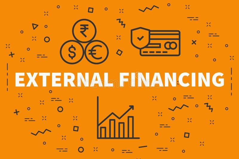 Konceptualna biznesowa ilustracja z słowa external financi ilustracja wektor