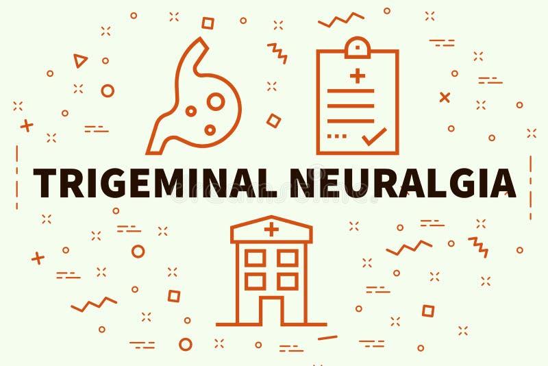 Konceptualna biznesowa ilustracja z słowa trigeminal neura ilustracji