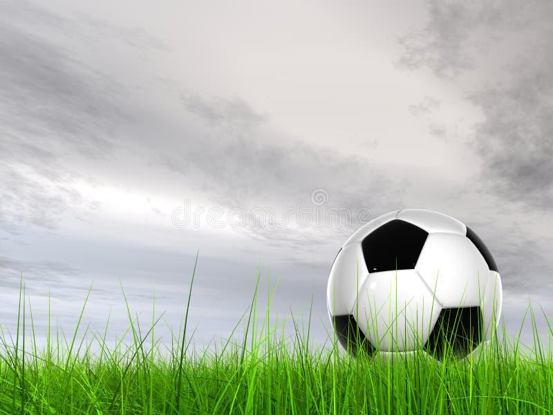 Konceptualna 3D piłki nożnej piłka w śródpolnej trawie z nieba tłem zdjęcie royalty free
