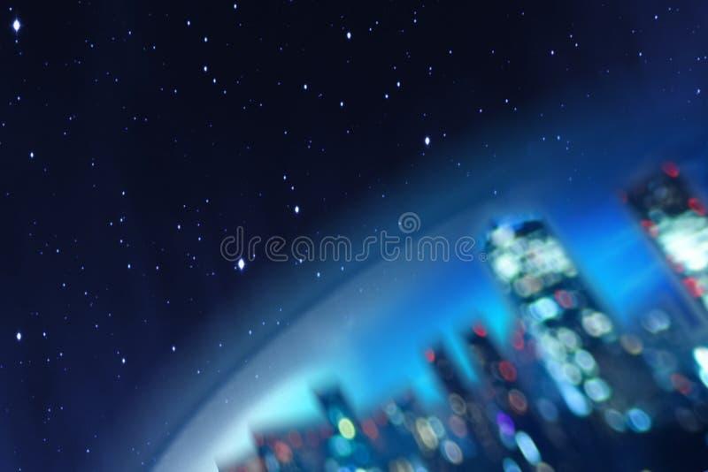 Konceptualna ilustracja część ziemia z miastem przyszłość przeciw tłu kosmos lub obraz stock