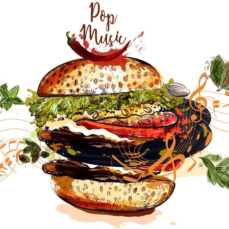 Konceptualna ilustracja na muzycznym i karmowym temacie Hamburger z nie royalty ilustracja