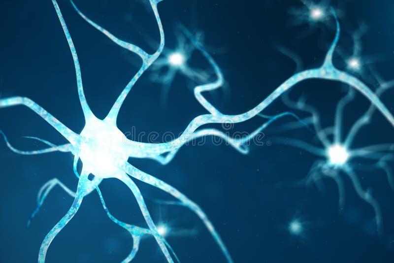 Konceptualna ilustracja neuron komórki z rozjarzonymi kulisowymi kępkami Neurony w mózg dalej z ostrość skutkiem Synapse i ilustracji