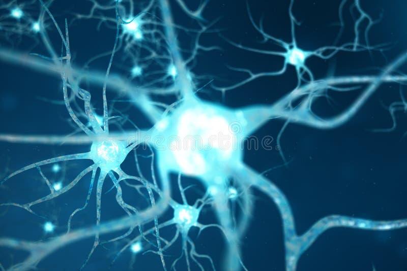 Konceptualna ilustracja neuron komórki z rozjarzonymi kulisowymi kępkami Neurony w mózg dalej z ostrość skutkiem Synapse i royalty ilustracja