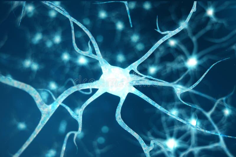 Konceptualna ilustracja neuron komórki z rozjarzonymi kulisowymi kępkami Neurony w mózg dalej z ostrość skutkiem Synapse i ilustracja wektor