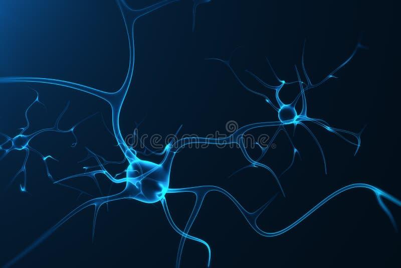 Konceptualna ilustracja neuron komórki z rozjarzonymi kulisowymi kępkami Synapse i neuronu komórki wysyła elektryczną substancję  royalty ilustracja