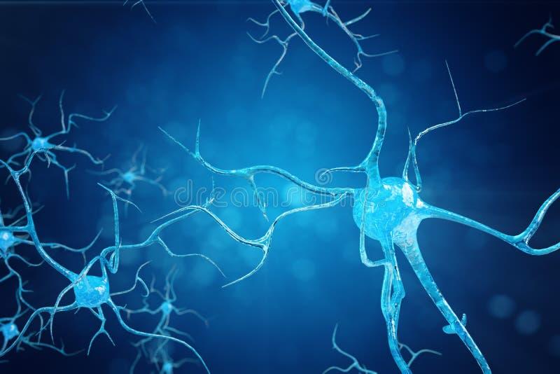 Konceptualna ilustracja neuron komórki z rozjarzonymi kulisowymi kępkami Synapse i neuronu komórki wysyła elektryczną substancję  ilustracja wektor