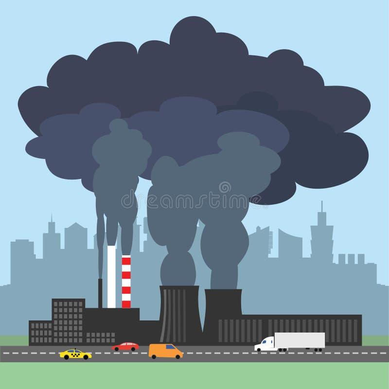 Konceptualna ilustracja pokazuje zanieczyszczającego dym od fabryki royalty ilustracja
