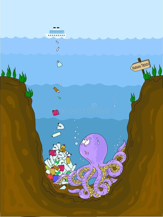 Konceptualna ilustracja zanieczyszczenie ?wiat?w oceany z klingerytu odpady Ośmiornica przy dnem marian wydrążenie wewnątrz ilustracja wektor