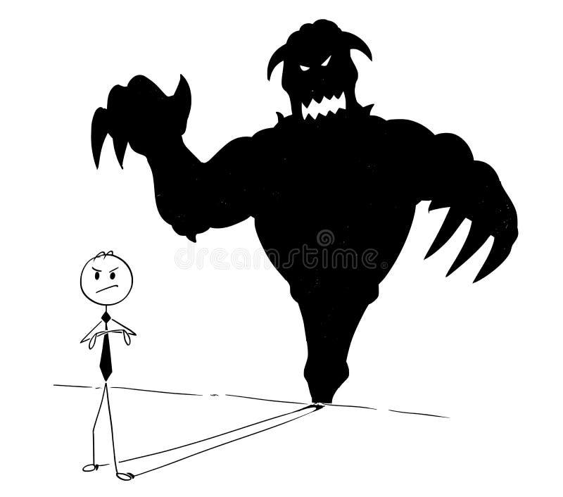 Konceptualna kreskówka biznesmen i Jego potwora Inside cień ilustracja wektor