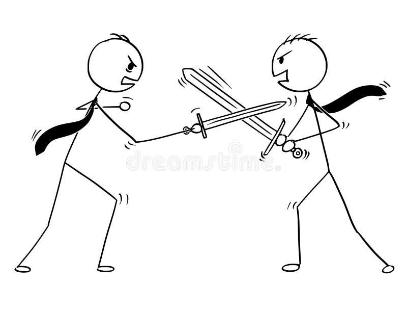 Konceptualna kreskówka Dwa biznesmena Dyskutuje i Walczy royalty ilustracja