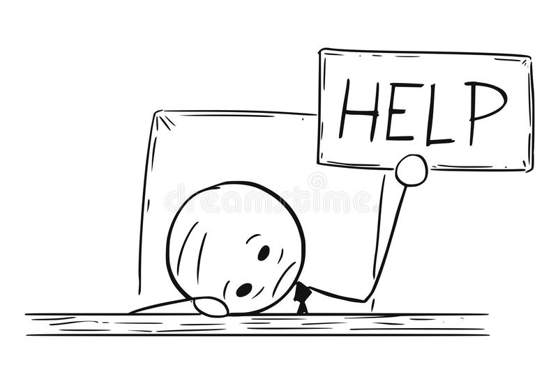 Konceptualna kreskówka Przygnębiony biznesmen Z pomoc znakiem ilustracja wektor