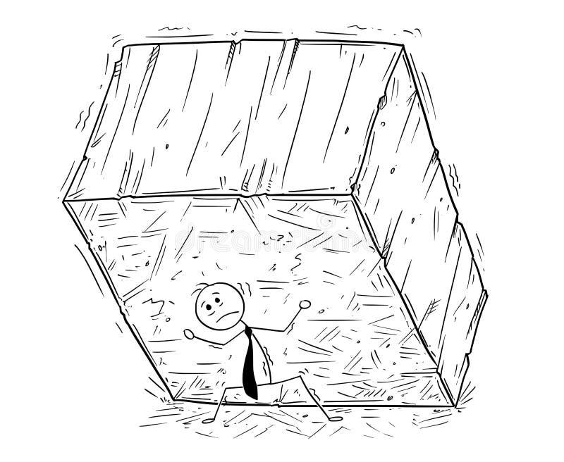 Konceptualna kreskówka Wspiera Dużego blok skała o biznesmen ilustracja wektor