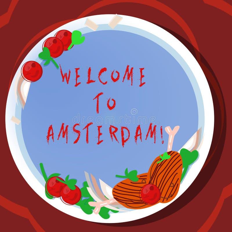Konceptualna ręka pisze Amsterdam pokazywać powitanie Biznesowa fotografia pokazuje powitanie someone odwiedza stolicę ilustracja wektor