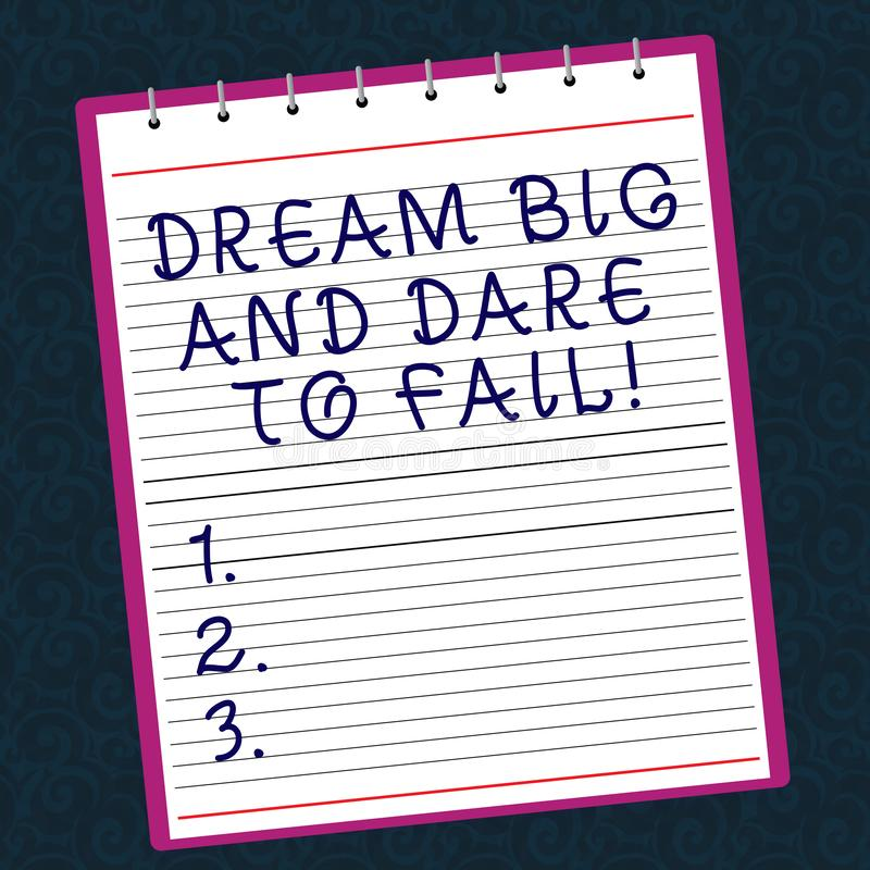 Konceptualna ręka pisze I wyzwanie Nie udać się pokazywać Wymarzony Dużego Biznesowa fotografia teksta motywacji inspiracja przyg obrazy stock