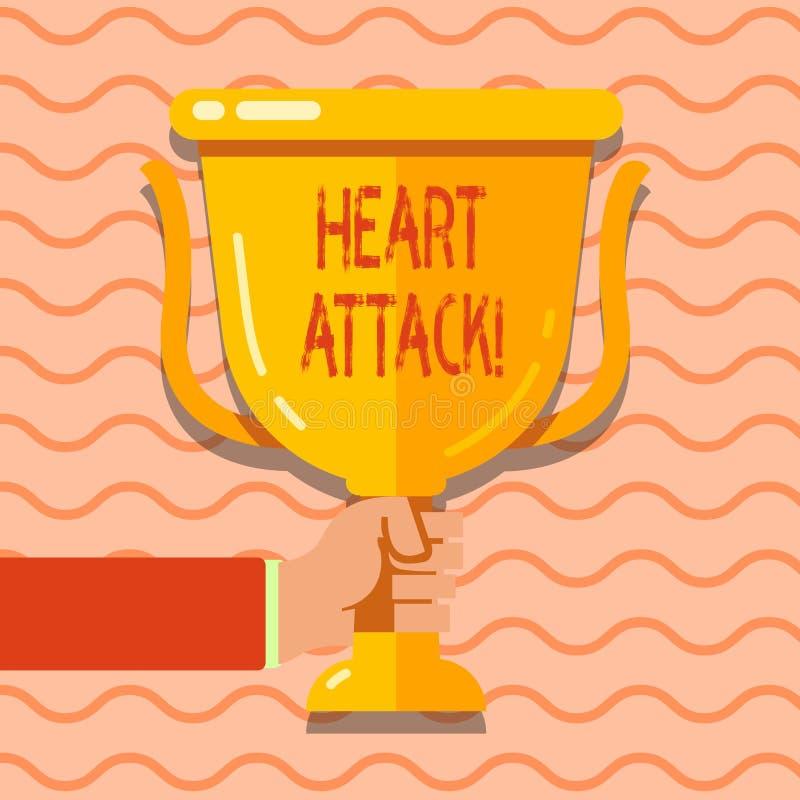 Konceptualna ręka pisze pokazywać atak serca Biznesowa fotografia pokazuje nagłego występowanie wieńcowy zakrzepica ilustracji