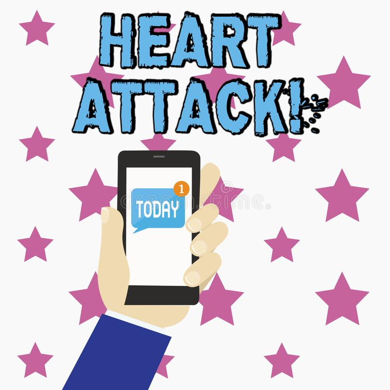 Konceptualna ręka pisze pokazywać atak serca Biznesowego fotografia teksta nagły występowanie wieńcowy zakrzepica wynikający wewn ilustracja wektor