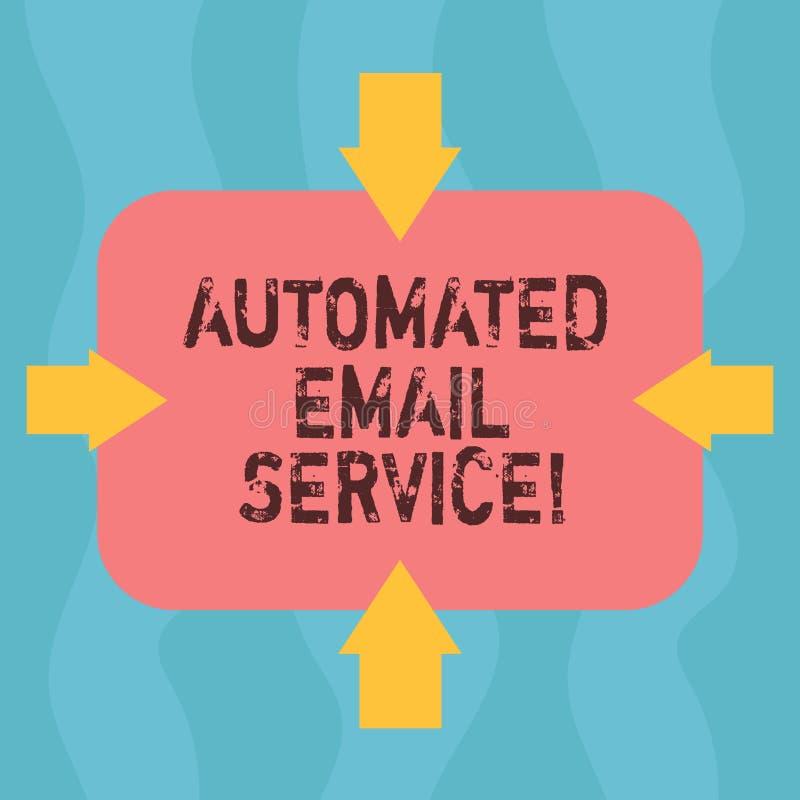 Konceptualna ręka pisze pokazywać Automatyzującej poczty elektronicznej Biznesowa fotografia pokazuje automatyczny podejmowanie d royalty ilustracja