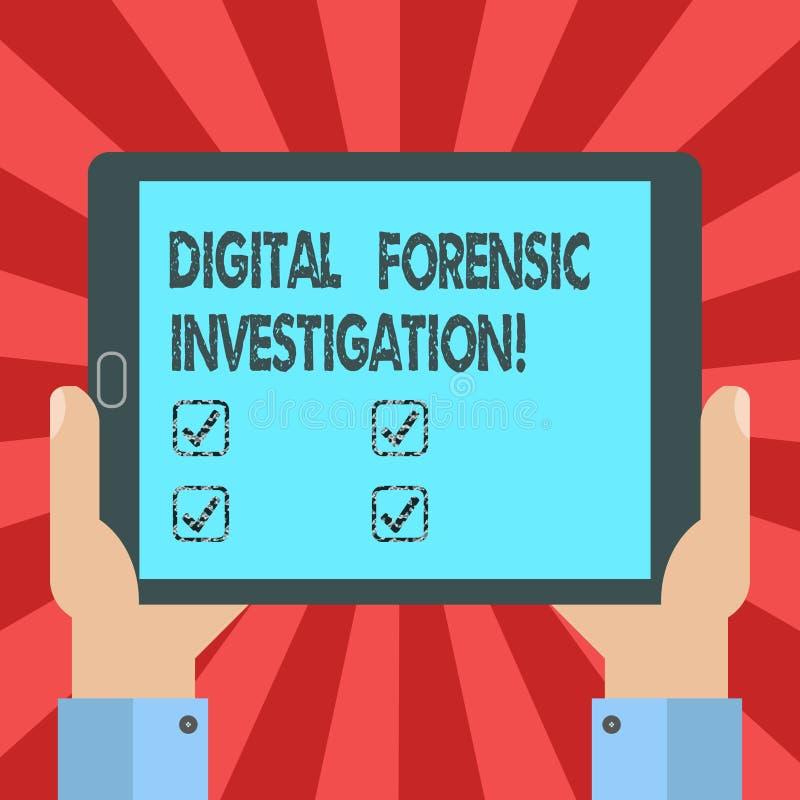 Konceptualna ręka pisze pokazywać Cyfrowemu Sądowego dochodzenie Biznesowy fotografia teksta wyzdrowienie informacja od komputeró ilustracja wektor