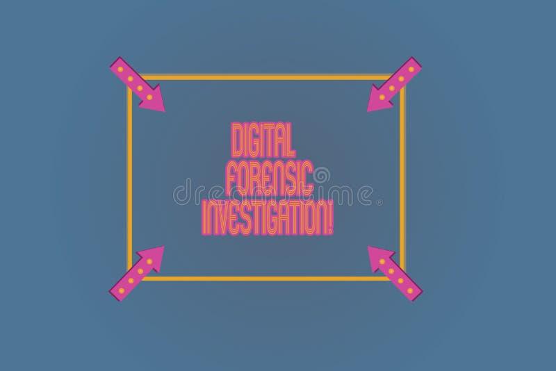 Konceptualna ręka pisze pokazywać Cyfrowemu Sądowego dochodzenie Biznesowy fotografia teksta wyzdrowienie informacja od komputeró royalty ilustracja