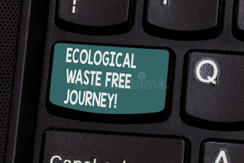 Konceptualna ręka pisze pokazywać Ekologiczną odpady podróż Swobodnie Biznesowy fotografia teksta środowiska ochrony przetwarzać obrazy stock