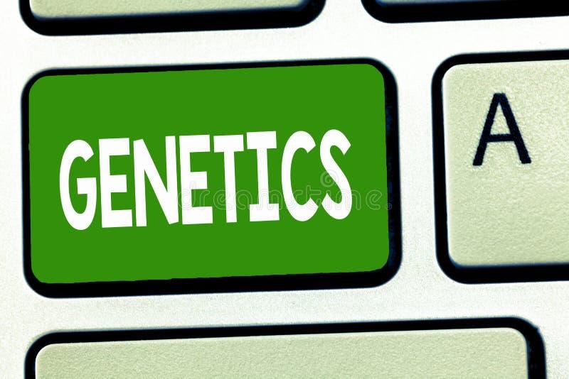 Konceptualna ręka pisze pokazywać genetykę Biznesowa fotografia pokazuje naukę dziedziczność i różnicę odziedziczony obrazy stock