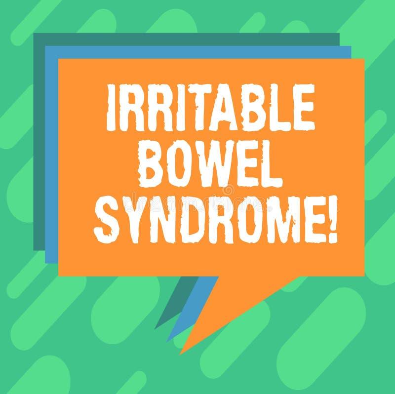 Konceptualna ręka pisze pokazywać Gniewliwej kiszki syndrom Biznesowa fotografia pokazuje nieład wymaga brzusznego ból i biegunkę ilustracji